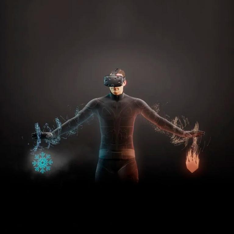 Woman wearing teslasuit showing how it is immersive.