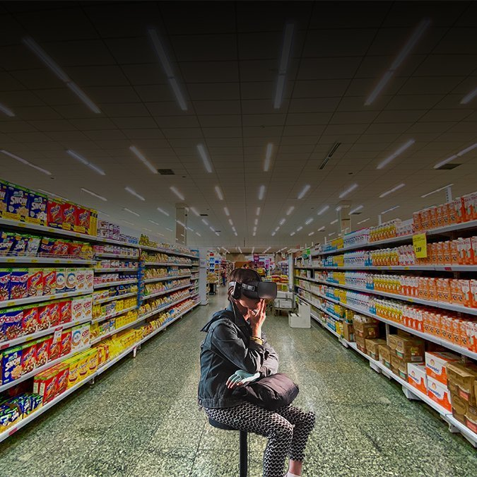 Woman in supermarket showing realism in consumer research with VR.