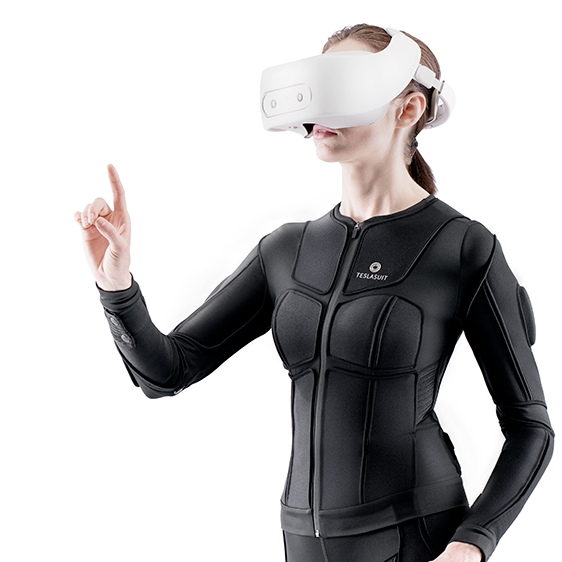 Woman using VR headset and teslasuit for eLearning.