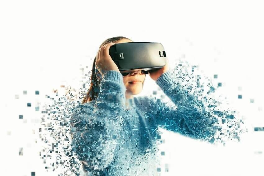 Woman in VR metaverse.